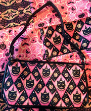 Load image into Gallery viewer, Johanna Parker Pink Grinning Black Cat Clutch Bag