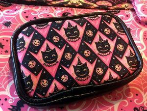 Johanna Parker Pink Grinning Black Cat Coin Purse or Case