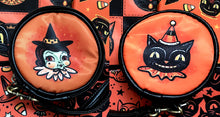 Load image into Gallery viewer, Johanna Parker Witch & Cat Round Case Or Cosmetic Bag