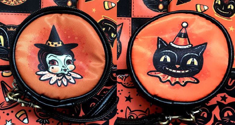 Johanna Parker Witch & Cat Round Case Or Cosmetic Bag