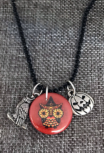 Johanna Parker Owl Button Charm Necklace