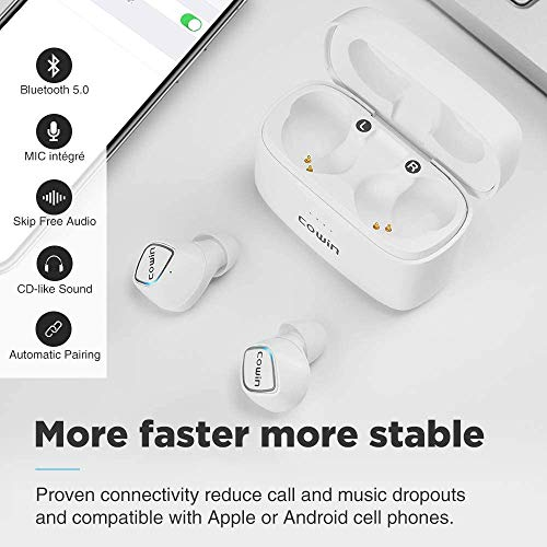 COWIN KY02 Wireless Earbuds Bluetooth Headphones with Microphone - White