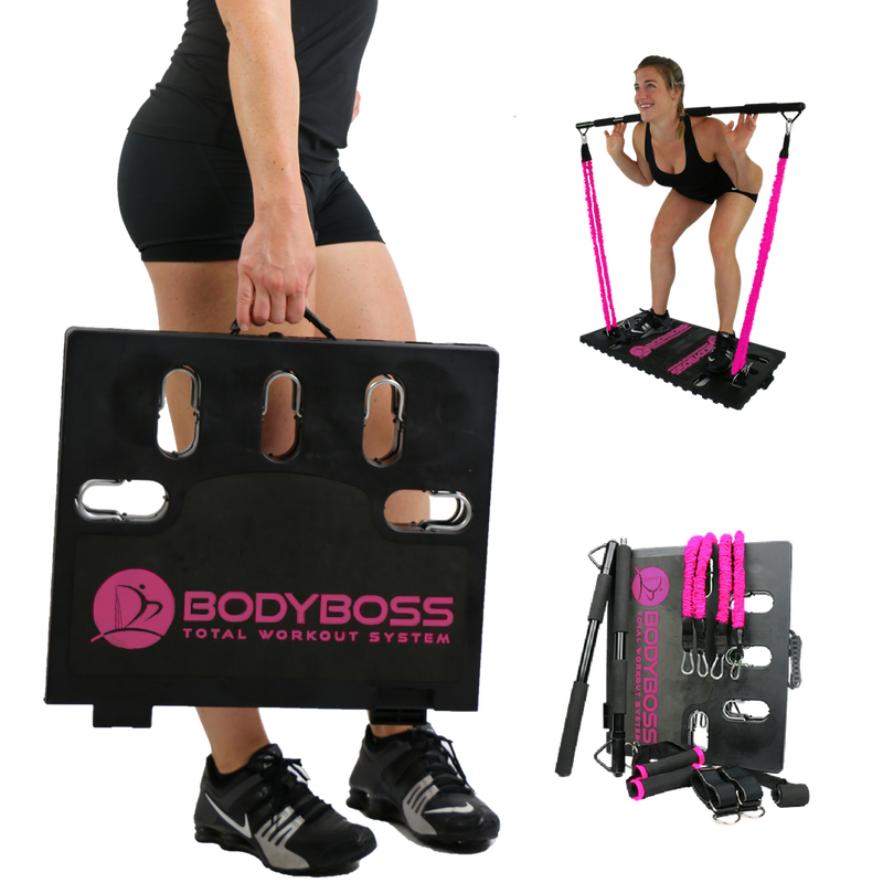 BodyBoss Home Gym 2.0 - Full Portable Gym Home Workout Package - PKG4-Pink