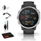 Garmin Fenix 6S Multisport GPS Smartwatch (42mm, Silver / Black Band) with Cleaning Kit and 2-Port USB Car Charger