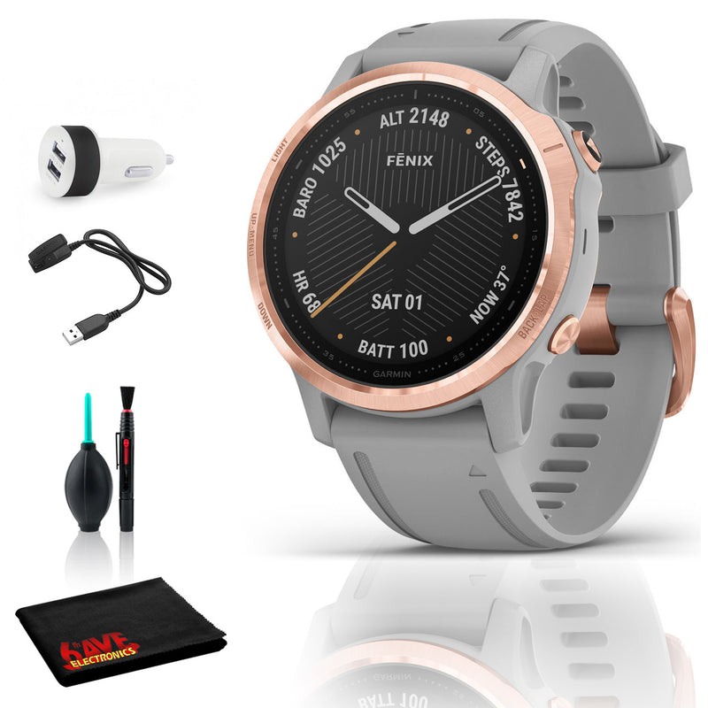 Garmin Fenix 6S Multisport GPS Smartwatch (42mm, Sapphire, Rose Gold-Tone / Powder Gray Band) with 2-Port USB Car Charger
