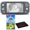 Nintendo Switch Lite (Gray) Bundle with Cleaning Cloth and The Legend of Zelda: Links Awakening