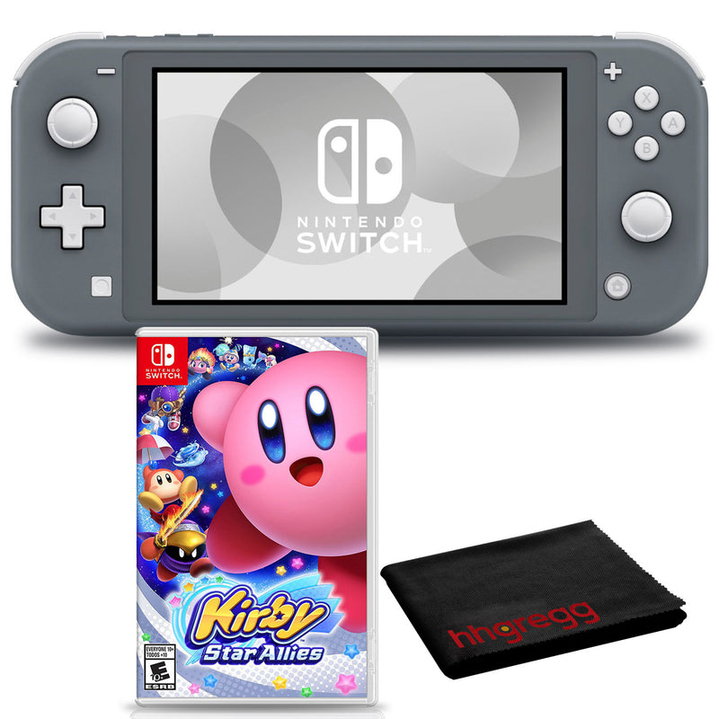Nintendo Switch Lite (Gray) Bundle with Cleaning Cloth and Kirby Star Allies