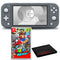 Nintendo Switch Lite (Gray) Bundle with Cleaning Cloth and Super Mario Odyssey