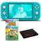 Nintendo Switch Lite (Turquoise) Bundle with Animal Crossing + 6Ave Fiber Cloth