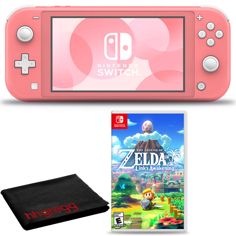 Nintendo Switch Lite (Coral) Bundle with Cleaning Cloth and The Legend of Zelda: Links Awakening