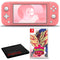 Nintendo Switch Lite (Coral) Bundle with Cleaning Cloth and Pokemon Shield