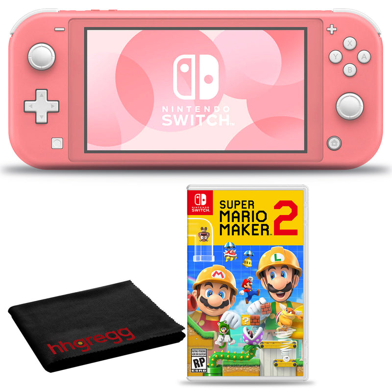 Nintendo Switch Lite (Coral) Bundle with Cleaning Cloth and Super Mario Maker 2