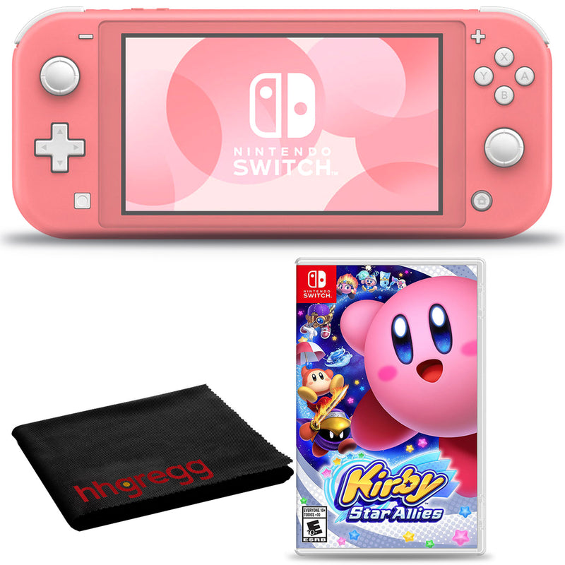 Nintendo Switch Lite (Coral) Bundle with Cleaning Cloth and Kirby Star Allies