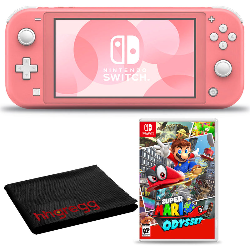 Nintendo Switch Lite (Coral) Bundle with Cleaning Cloth and Super Mario Odyssey