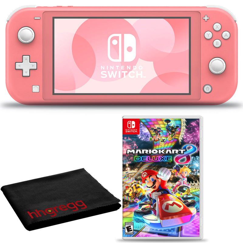 Nintendo Switch Lite (Coral) Bundle with Cleaning Cloth and Mario Kart 8 Deluxe