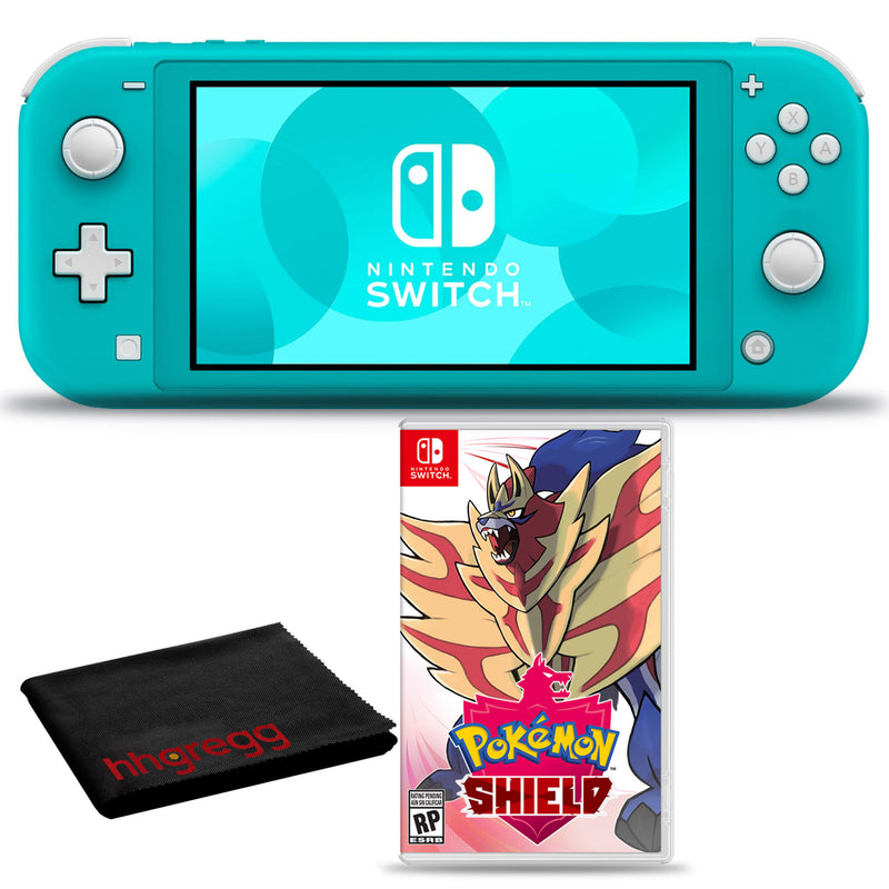 Nintendo Switch Lite (Turquoise) Bundle with Cleaning Cloth + Pokemon Shield