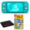 Nintendo Switch Lite (Turquoise) Bundle with Cleaning Cloth + Super Mario Maker 2