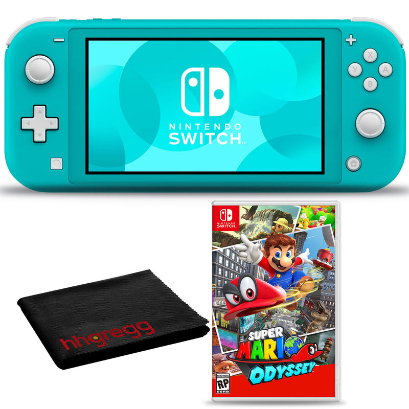 Nintendo Switch Lite (Turquoise) Bundle with Cleaning Cloth + Super Mario Odyssey