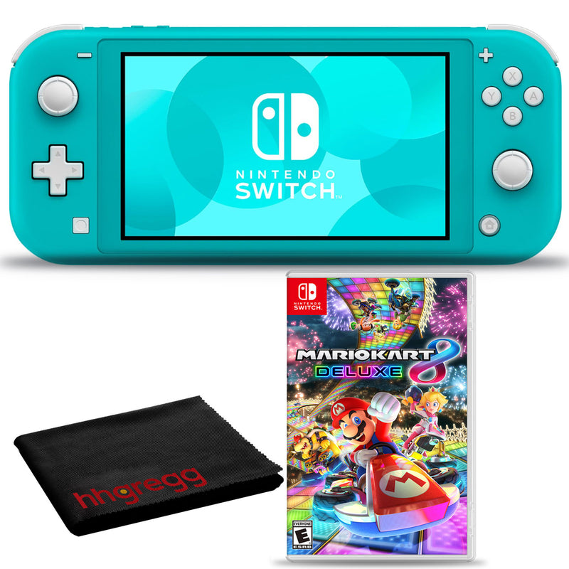 Nintendo Switch Lite (Turquoise) Bundle with Cleaning Cloth + Mario Kart 8 Deluxe