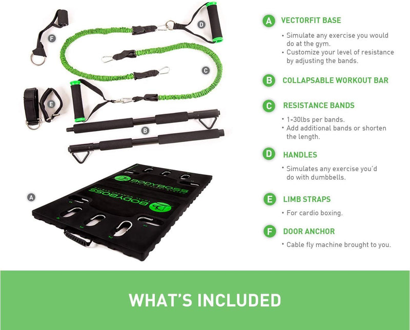 BodyBoss Home Gym 2.0 - Full Portable Gym Home Workout Package + 1 Set of Resistance Bands - Collapsible Resistance Bar, Handles - Full Body Workouts for Home, Travel or Outside (Green)