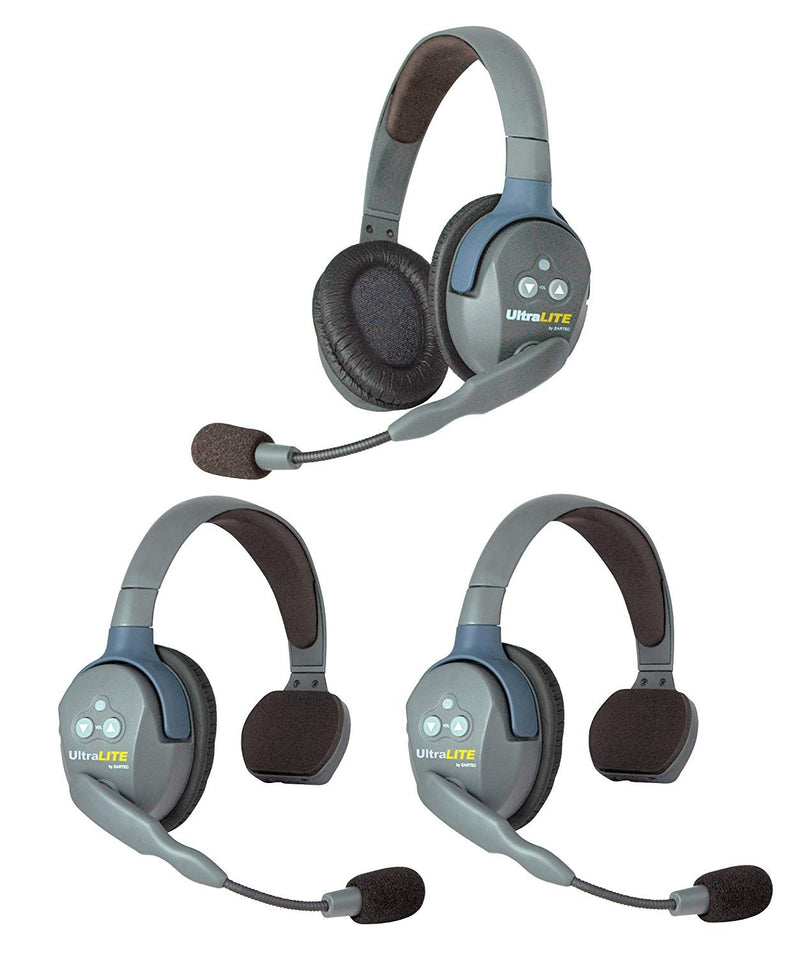 Eartec UL321 UltraLITE Full Duplex Wireless Headset Communication for 3 Users - 2 Single Ear and 1 Dual Ear Headsets