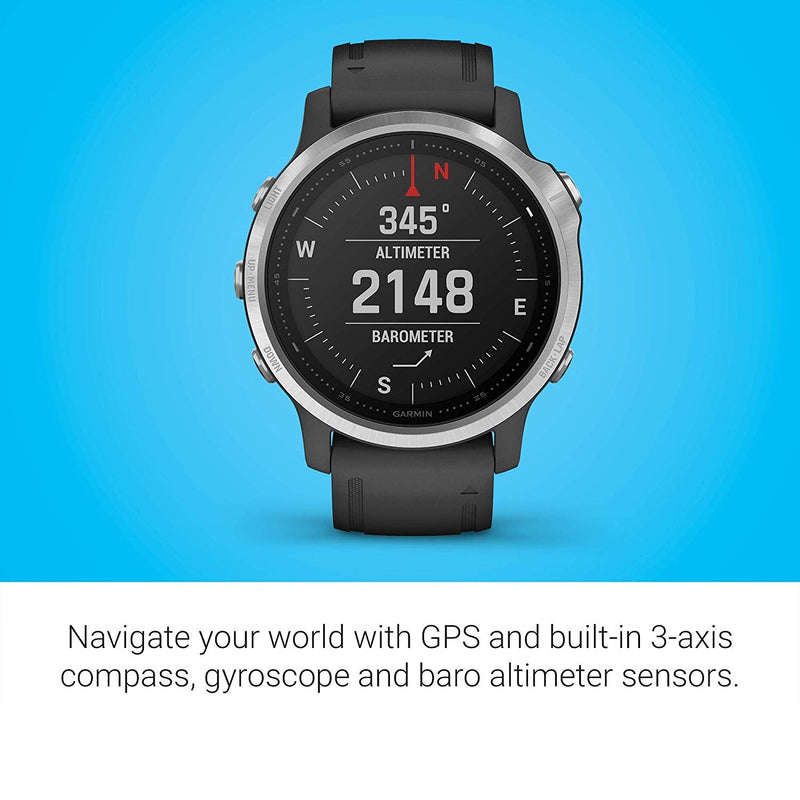 Garmin Fenix 6S, Premium Multisport GPS Watch, Smaller-Sized, Heat and Altitude Adjusted V02 Max, Pulse Ox Sensors and Training Load Focus, Silver with Black Band