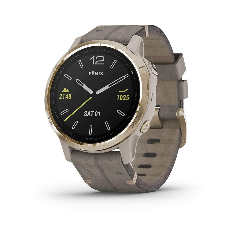 Garmin Fenix 6S Sapphire, Premium Multisport GPS Watch, Smaller-Sized, Features Mapping, Music, Grade-Adjusted Pace Guidance and Pulse Ox Sensors, Light Gold with Gray Leather Band