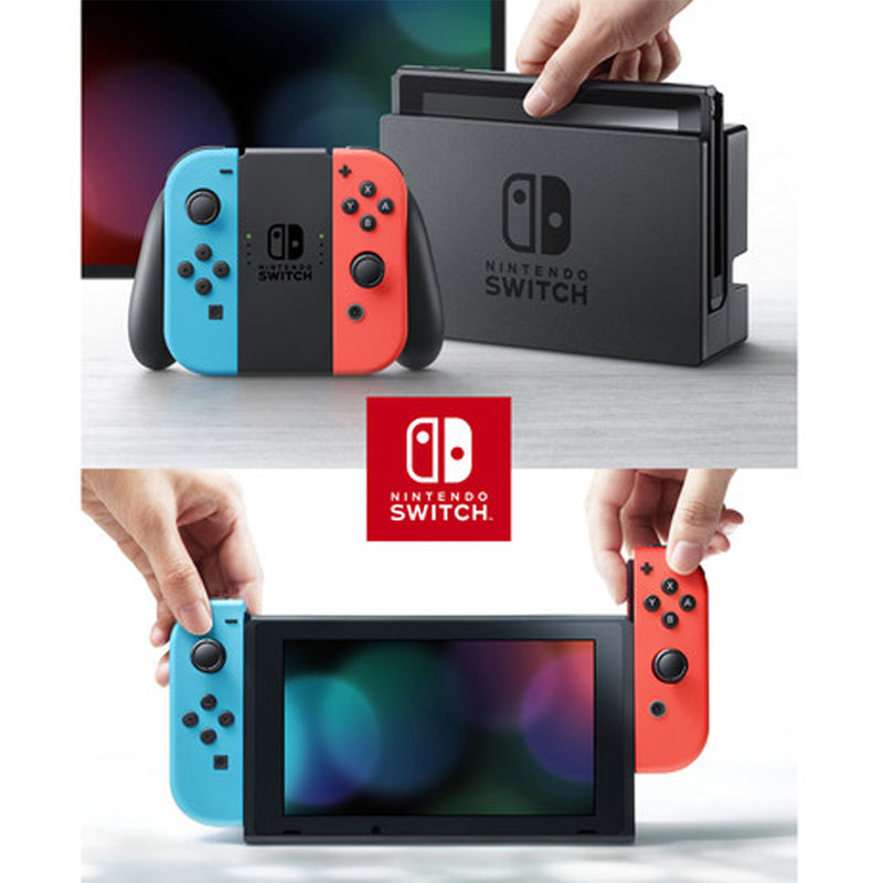 Nintendo Switch with Neon Blue/Red JoyCons Bundle with Minecraft Dungeons + Cleaning Cloth