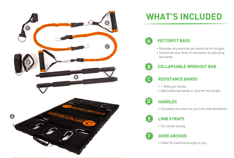 BodyBoss Home Gym 2.0 - Full Portable Gym Home Workout Package - Orange