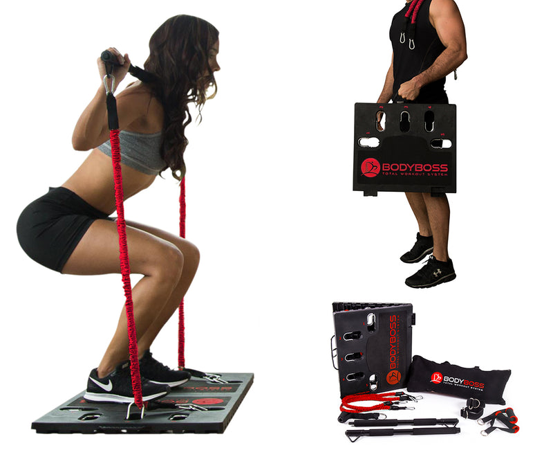 BodyBoss Home Gym 2.0 - Full Portable Gym Home Workout Package - Red