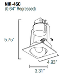 "Nora NIR-4SC 4"" 800 Lumen 14W LED Iolite Retrofit Square Cone Regress Adjustable Trim"