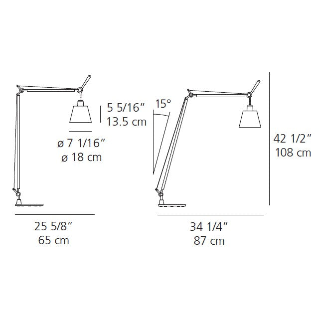 Artemide Tolomeo Reading Floor Lamp with Shade