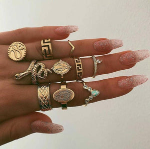 Gold vintage Rings set/7-10Pcs