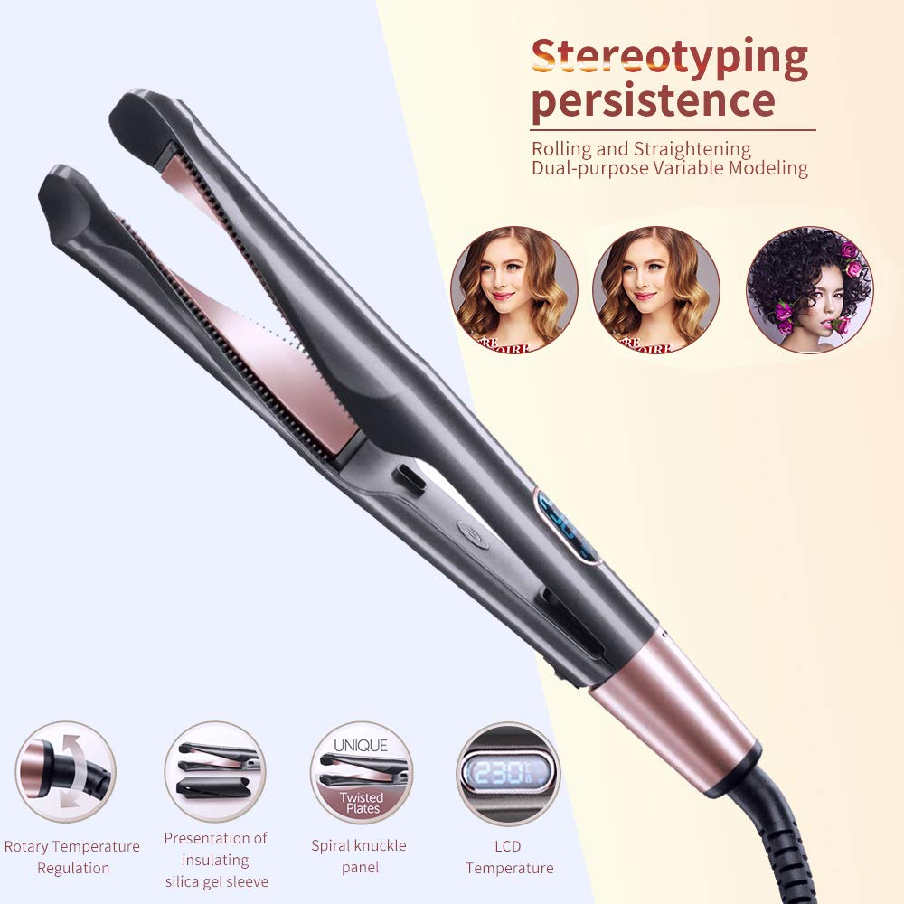 2in1 Twisted Flat Iron LCD Digital Display Curler