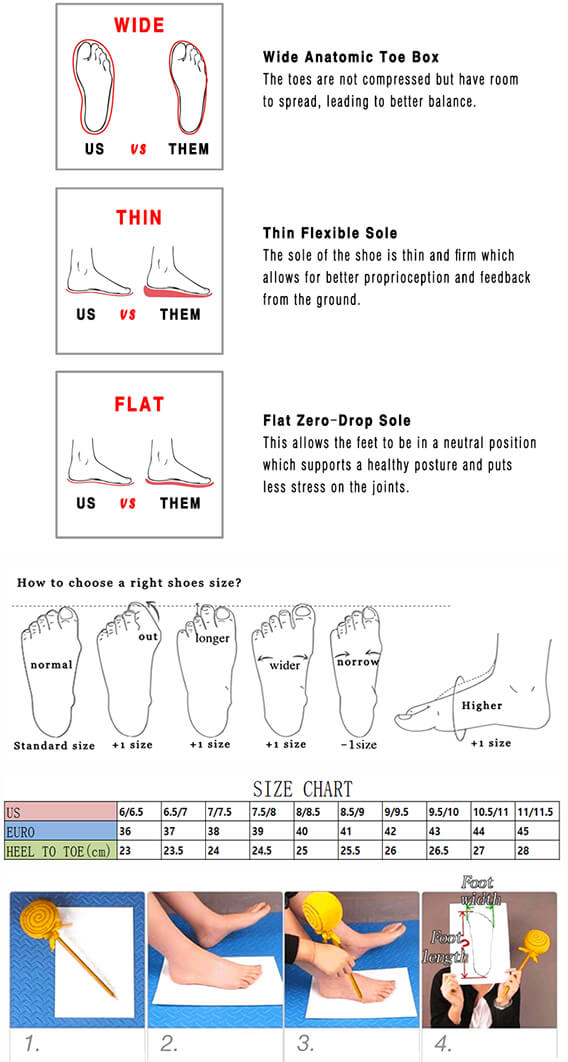 five finger shoes size chart