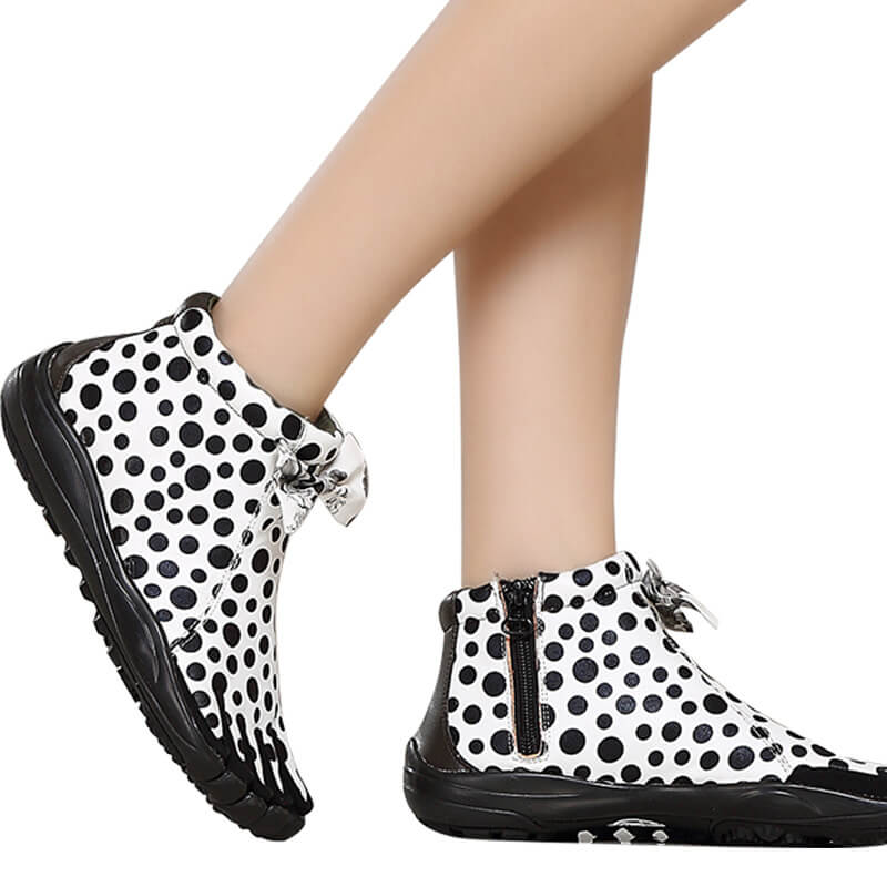 Women's Fashion White Five Finger Shoes with Black Dots