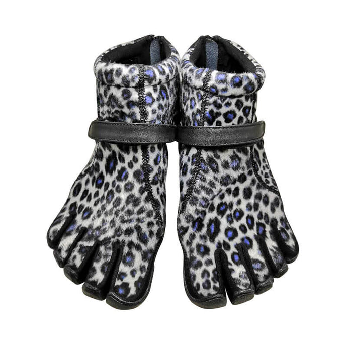 Winter Thick Leopard Print Five Finger Boots With Zipper
