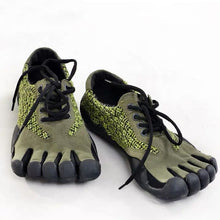 Load image into Gallery viewer, Green Leather Five Finger Shoes Non-slip Toe Shoes For Men