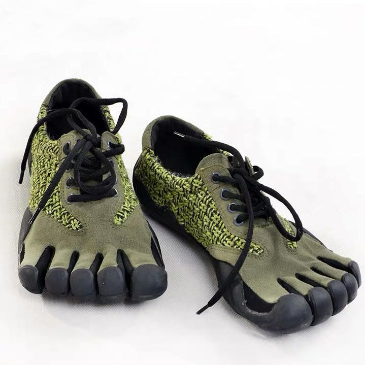 Green Leather Five Finger Shoes Non-slip Toe Shoes For Men
