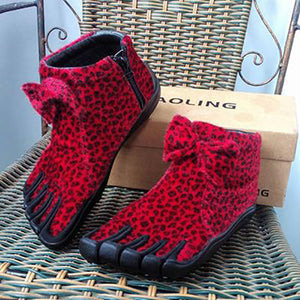 Women's Thick Red Leopard-print Five Finger Boots Winter Warm Five Toe Boots