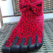Load image into Gallery viewer, Women's Thick Red Leopard-print Five Finger Boots Winter Warm Five Toe Boots