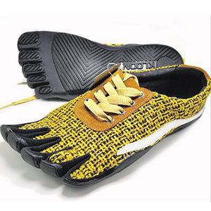Jute Knitting Five Finger Shoes Men's Lace Up Lightweight 5 Toes Running Shoes