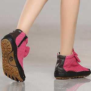 Women's Rose Red Five Finger Boots Mesh Five Toe Shoes