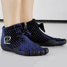Load image into Gallery viewer, Blue Bow Five Finger Boots with Dots Pattern Five Toe Boots