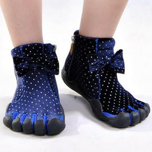 Blue Bow Five Finger Boots with Dots Pattern Five Toe Boots