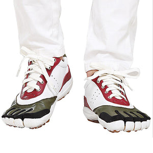 Thick Five Finger Shoes Leather Lace Up Casual Shoes (Red and White)