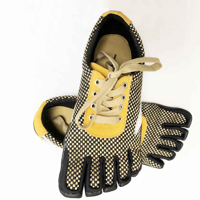 Yellow Five Finger Shoes Men's Lace Up 5 Toes Running Shoes