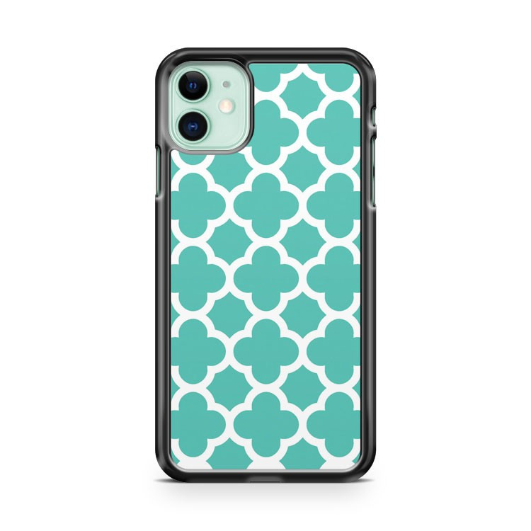 Aqua Quatrefoil iPhone 11 Case Cover | Oramicase
