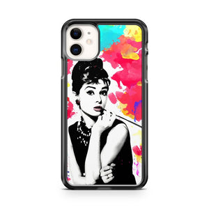 Audrey Hepburn art modern pop art watercolor colorful art iPhone 11 Case Cover | Oramicase