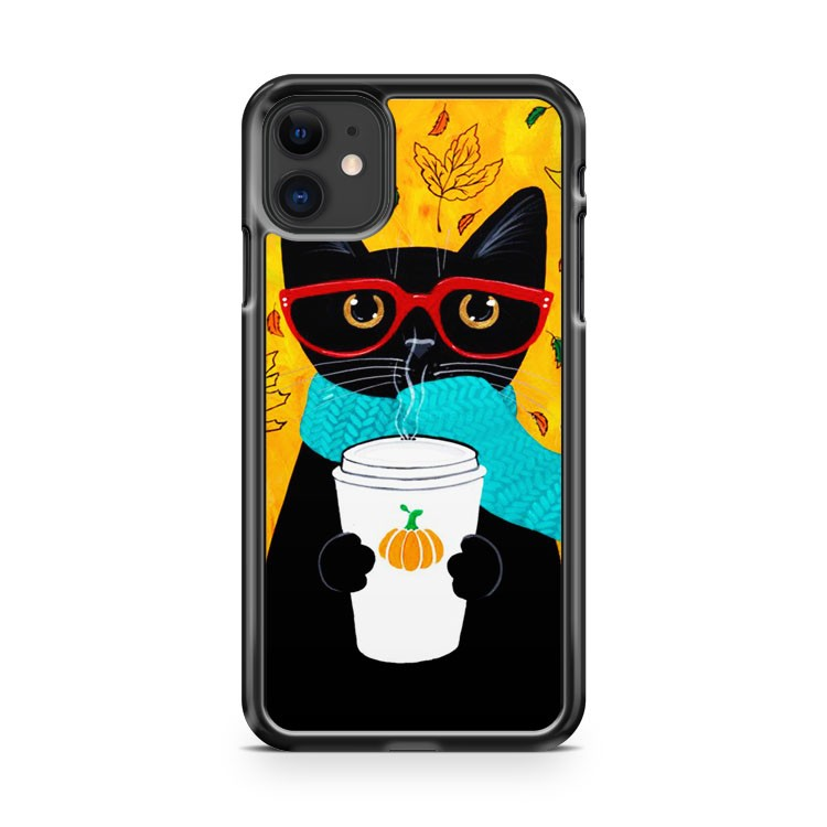 Autumn Pumpkin Coffee Cat iPhone 11 Case Cover | Oramicase
